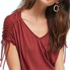 Anthropologie Amadi Drawstring Crimson Shirt